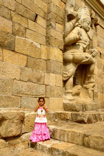 Posing in new pavadai